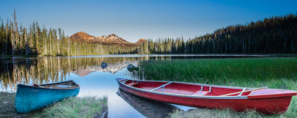 Panoramic Serene Canoes on Lake Photo for sale |Barb Gonzalez Photography