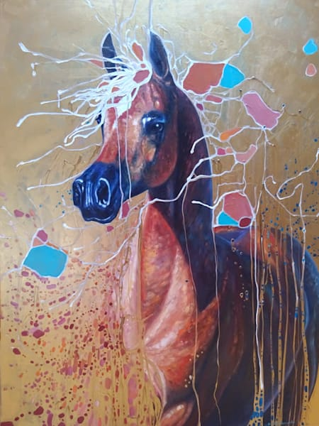 an original oil painting of an Arab bay horse painting in gustav klimpt art nouvea style