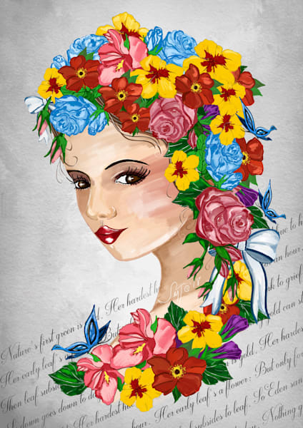 Face And Flowers Art   Leslie's Art Studio