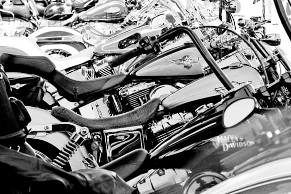 Harley Davidson rally Black and White