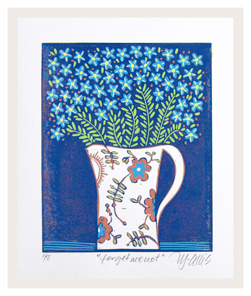 forgetmenot linocut in blue and copper by Printmaker Mariann Johansen-Ellis, art, paintings