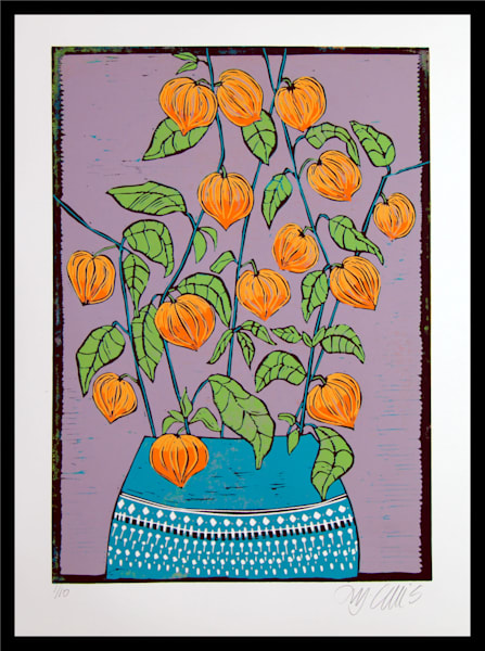 Chinese Lanterns in a blue vase, a linocut reduction by printmaker Mariann Johansen-Ellis, art, paintings