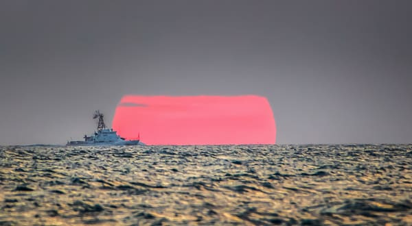 Coast Guard Cutter Setting Sun