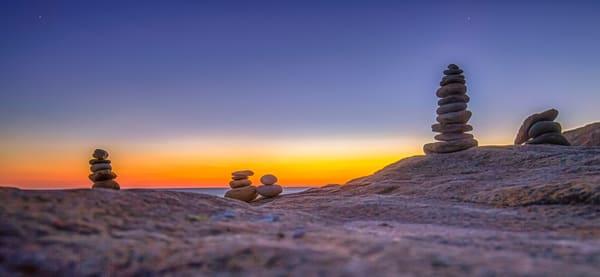 Moshup Beach Sunset Cairn Art | Michael Blanchard Inspirational Photography - Crossroads Gallery