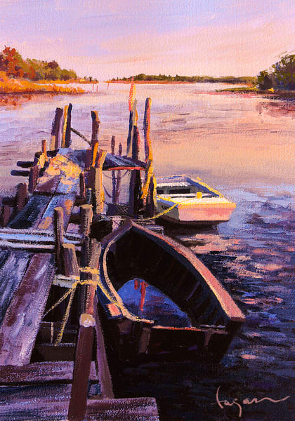Mathews Virginia Painting Boats by Dorothy Fagan