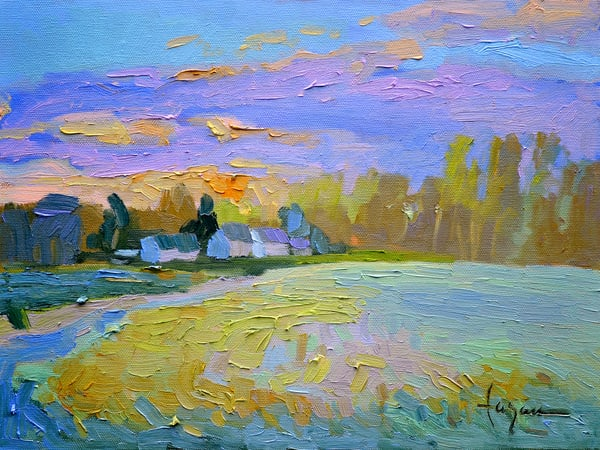 Tranquil Sunset Painting Gloucester Virginia, April Sunset  by Dorothy Fagan