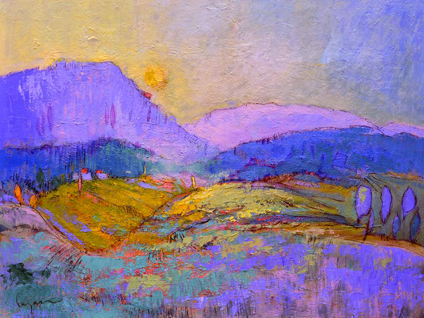 Abstract Mountain Landscape Painting Art Print by Dorothy Fagan, Journey's End