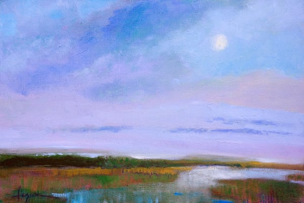 Tranquil Blue Moon Coastal Landscape Painting Art Print on Canvas, Dreamer's Moon by Dorothy Fagan