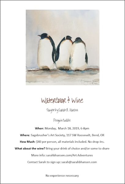 Watercolor & Wine - Penguin Cuddle Paint Night