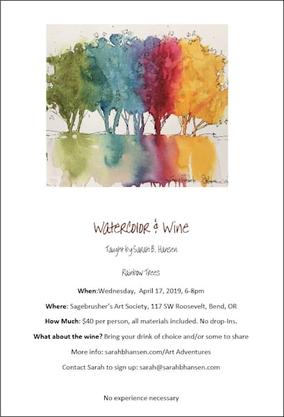Watercolor & Wine - April Paint Night taught by Sarah B Hansen