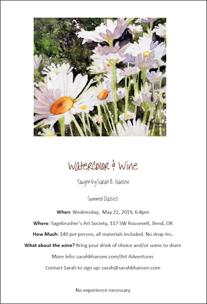 Watercolor & Wine - Summer Daisies Paint Night with Sarah B Hansen