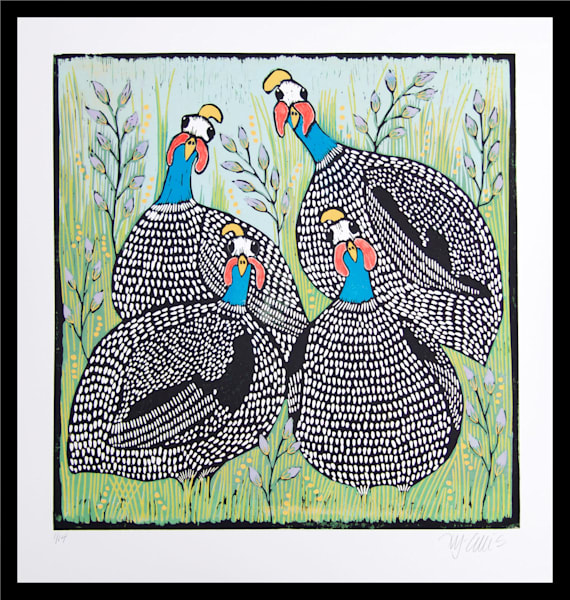 guineahens in a landscape, linocut by Mariann Johansen-Ellis, art, paintings