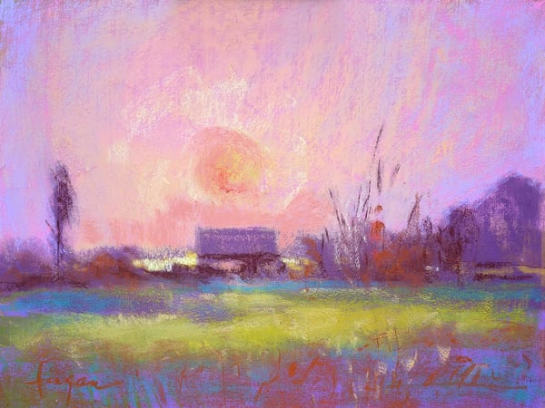 Pink Sunset Painting Art Print, Twilight by Dorothy Fagan