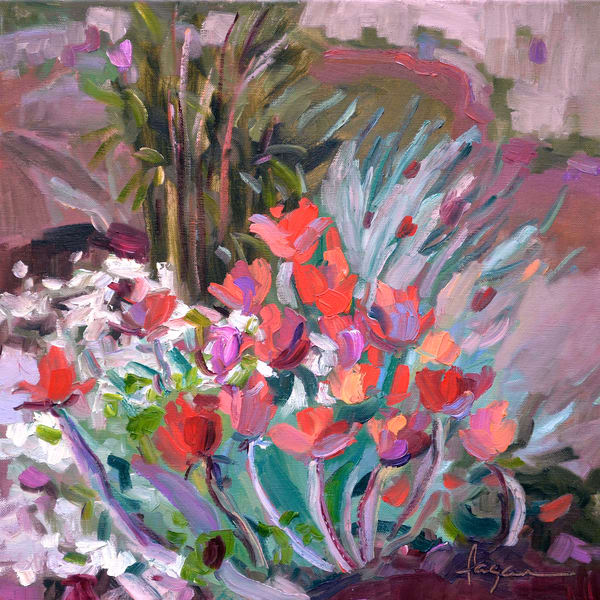 Coral Tulips in Snow, Painting Fine Art Print by Dorothy Fagan