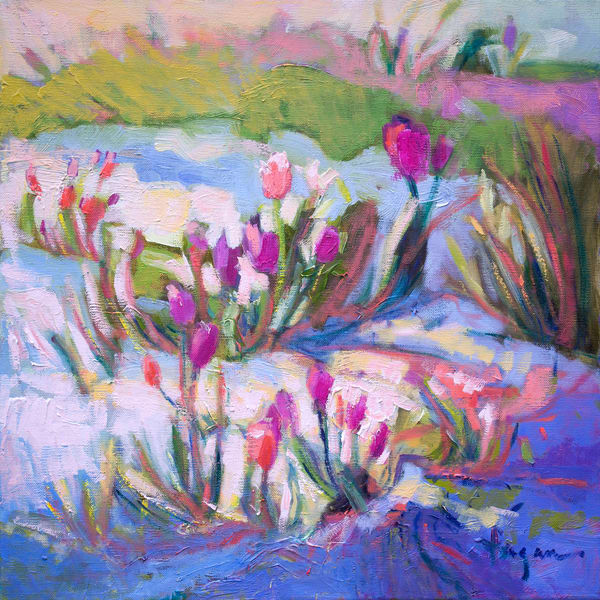 Pink Tulips Painting, Art Print by Dorothy Fagan