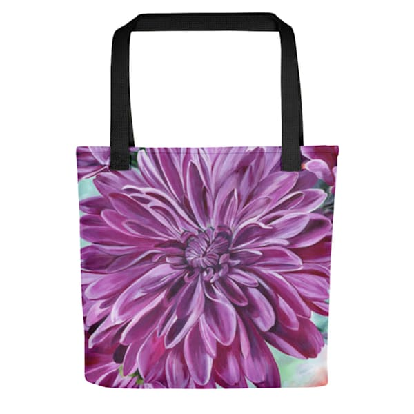 Stylish, colorful tote bags with original artwork of Joyful Blooms by Mary Anne Hjelmfelt printed on them.