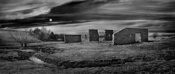 Panoramas/Wide View- bw | Flint Hills Bones - bw.  A tumble-down stone ruins photographed by fine art photographer, David Zlotky.