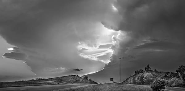 Storms over the Prairie Collection  | Highway to Heaven -bw. Stunning photograph of thunderstorm clouds over the Kansas Flint Hills by David Zlotky