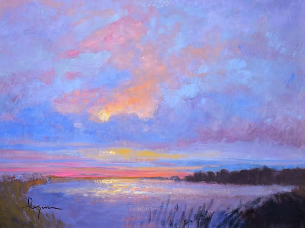 Twilight Sunset Chesapeake Bay Painting by Dorothy Fagan