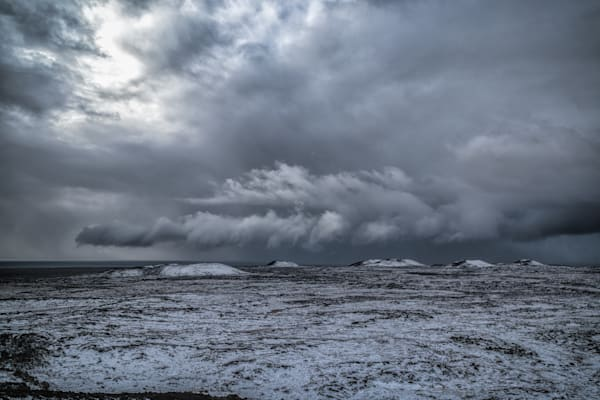 Wintry view and low clouds in West Iceland