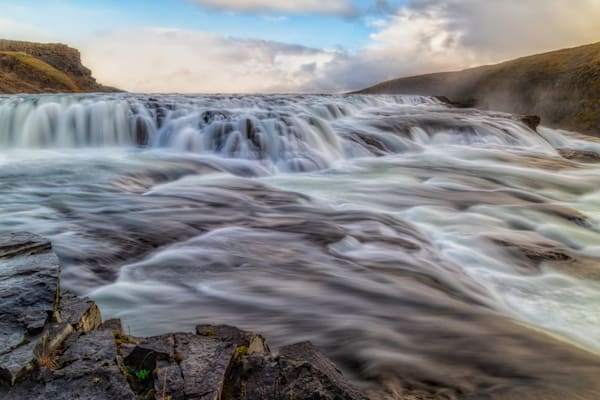 Long exposure of the upper part of Gullfoss waterfall, Iceland