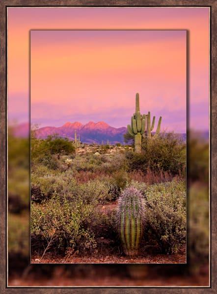 Four Peaks Sunset Pink V  3D Bronze  3D Art Print