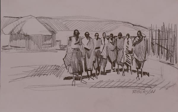 Eight Maasai Warriors In Village