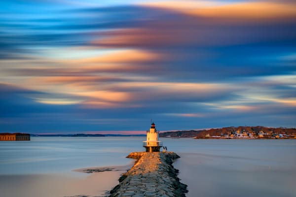 Autumn Skies at Spring Point Ledge Lighthouse by Rick Berk