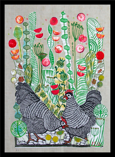 two black hens in a poppyfield, an original collage with all handprinted fabrics from Mariann Johansen-Ellis, art, paintings