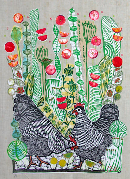 Hens in the Poppyfield to print