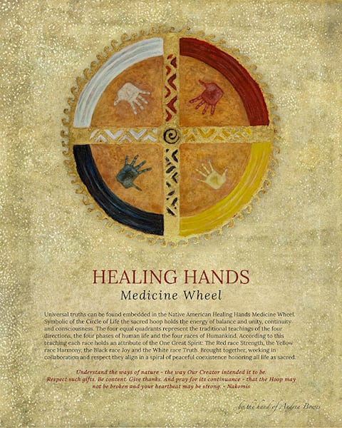 """Healing Hands Medicine Wheel"" poster print by Andrea Bowes."