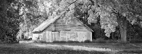 Panoramas/Wide View Collection - bw | Outbuilding on 21st Street -bw. The wide format shape works well with this old outbuilding. Fine art black and white photograph by David Zlotky.