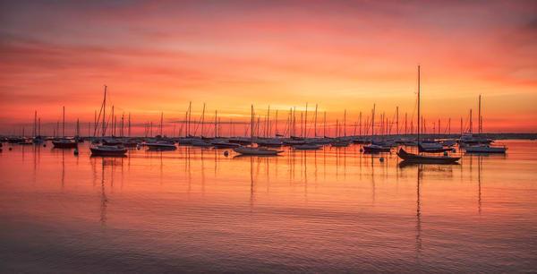 Vineyard Haven Harbor Magenta Sunrise Art   Michael Blanchard Inspirational Photography - Crossroads Gallery