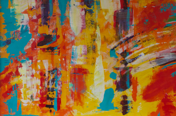 Warm colored abstract art-original paintings and fine art prints by Lesley Koenig.
