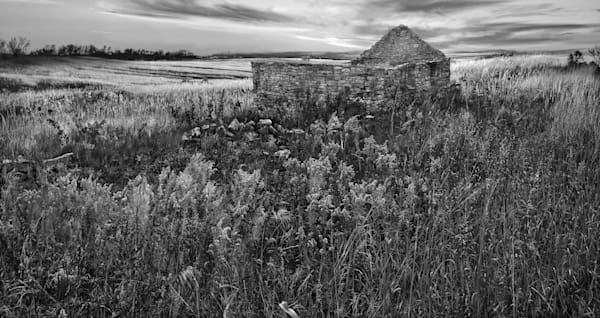 Luminous Light Collection - bw | The Olson Place, Wake of Shadow. An old stone homestead in the Kansas Flint Hills by David Zlotky