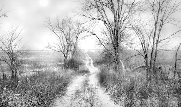 Backroads Collection - bw | Dusting of Snow, Christmas Eve Morning. Newly fallen snow on a deserted road. Fine art photograph by David Zlotky.