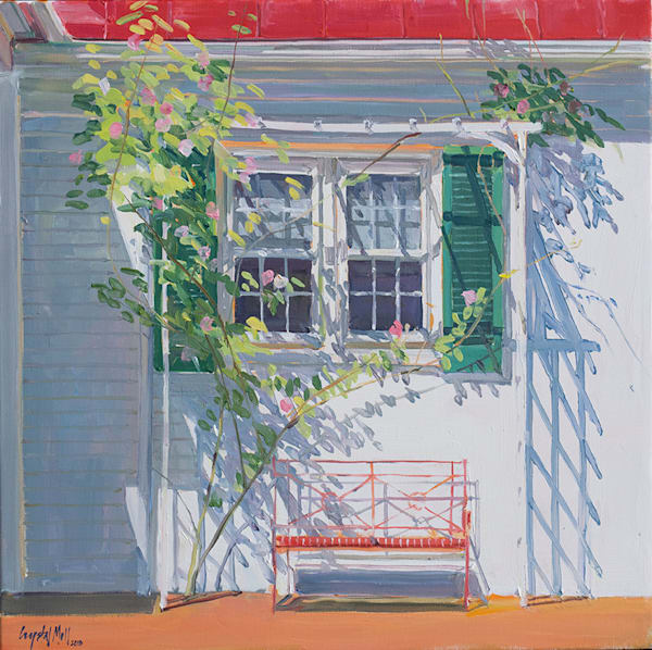 Respite is an oil on canvas depicting a bench, trellis behind a quaint house in St. Micheal's MD. Original by Crystal Moll.