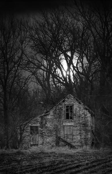 Backroads Collection - bw | Supernatural: Full Moon Rising -bw. An eerie fine art black and white photograph of a derelict stone house by David Zlotky.