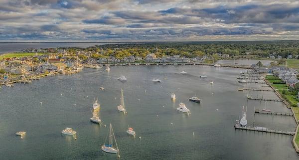 Oak Bluffs Harbor Fall Aerial Art | Michael Blanchard Inspirational Photography - Crossroads Gallery