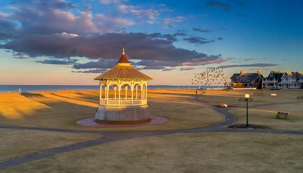 Bandstand Sunset Birds In Flight Art | Michael Blanchard Inspirational Photography - Crossroads Gallery