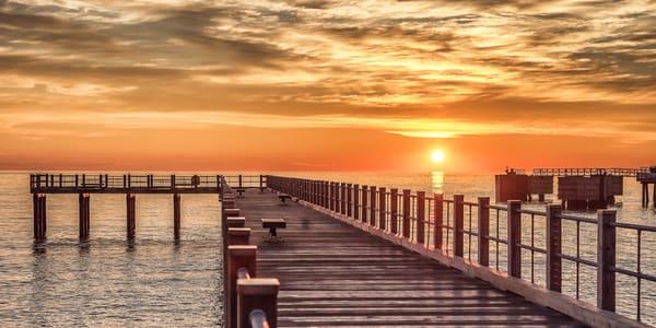Fishing Pier Sun Clouds Art | Michael Blanchard Inspirational Photography - Crossroads Gallery