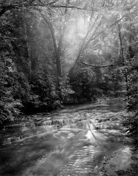 Luminous Light Collection - bw | Siskiwit Falls, Northern Wisconsin - bw. Morning light creates beautifully lit ripples on the stream. Fine art photograph by David Zlotky.
