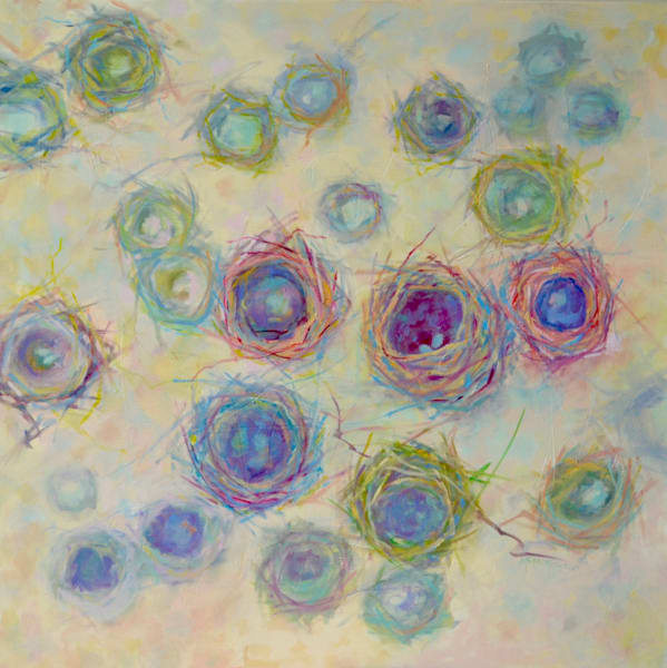 soft colors, original oil painting, nests