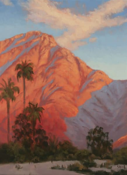 Palm Desert area Sunrise oil painting with palms by Terry Sauve