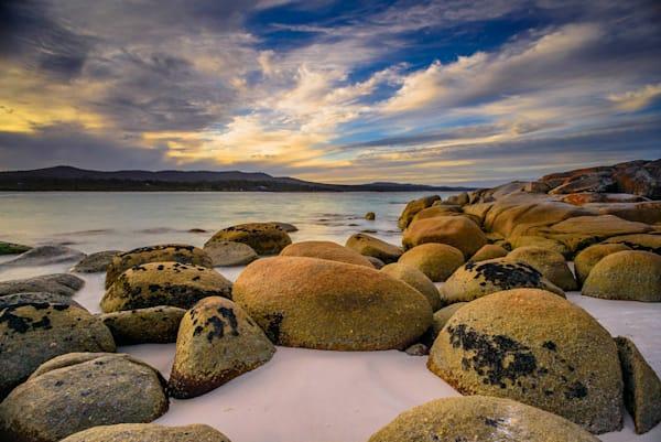 Fire s Sunset - Binalong Bay Bay of Fires - Tasmania Australia
