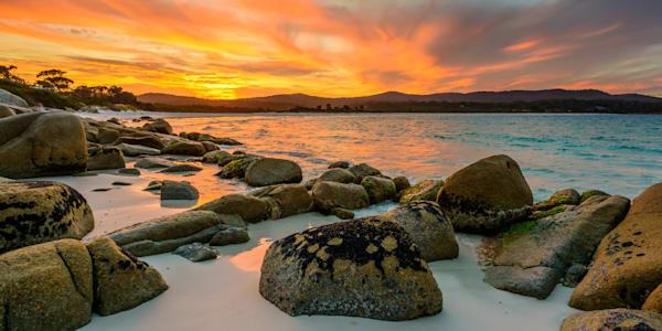 Sunset of Fire - Binalong Bay Bay of Fires - Tasmania Australia