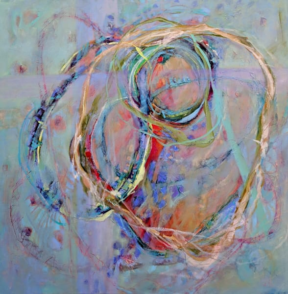 She Left Perfection In The Dust is a softly colored 36x36 square original fine art abstract oil painting featuring ribbons of turquoise, lavender and creams which float and dip into a background of soft blues and grey with accents of translucent red