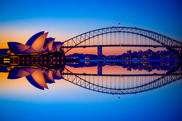 Reflected Icons - Sydney Harbour Bridge Sydney Opera House - Sydney NSW Australia