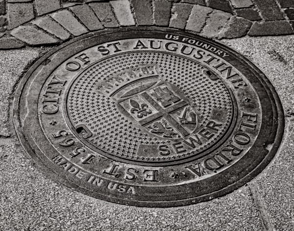 St. Augustine manhole cover photography print