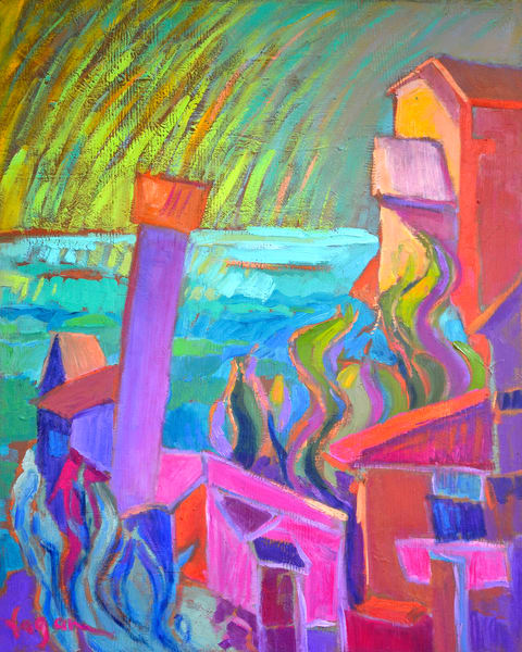 Cinque Terre Painting, Art Print by Dorothy Fagan